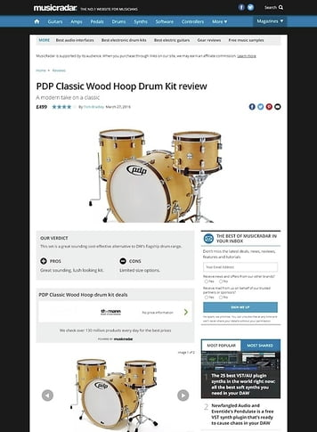 MusicRadar.com PDP Classic Wood Hoop Drum Kit