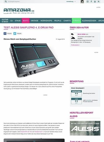 Amazona.de Test: Alesis Samplepad 4, E-Drum Pad