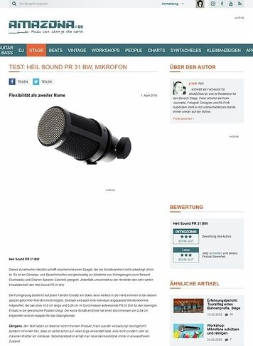 Amazona.de Test: Heil Sound PR 31 BW, Mikrofon