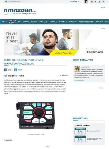 Amazona.de Test: TC-Helicon Perform-V, Mikrofonprozessor