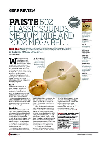 Rhythm Paiste 602 Classic Sounds Medium Ride And 2002 Mega Bell