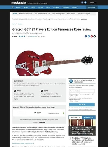MusicRadar.com Gretsch G6119T Players Edition Tennessee Rose
