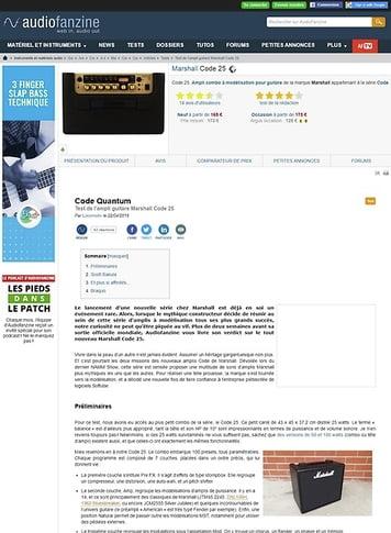 Audiofanzine.com Marshall Code 25