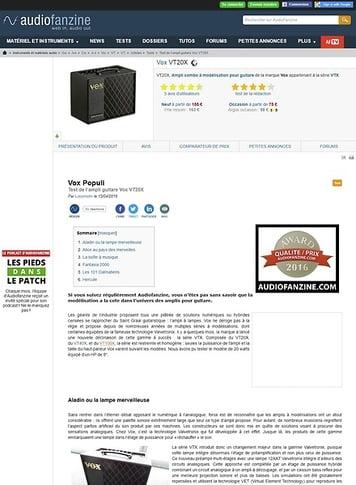 Audiofanzine.com Vox VT20X