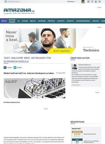 Amazona.de Test: Waldorf kb37, Keyboard für Eurorack Module