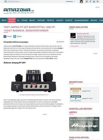 Amazona.de Test: Ampeg PF-20T Basstopteil und PF-112HLF Bassbox, Bassverstärker