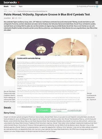 Bonedo.de Paiste Monad, Vir2osity, Signature Groove & Blue Bird Cymbals Test