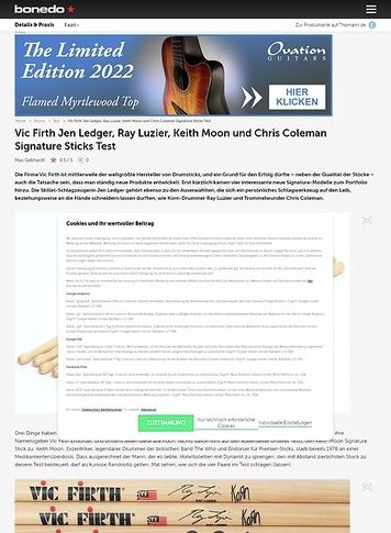Bonedo.de Vic Firth Jen Ledger, Ray Luzier, Keith Moon und Chris Coleman Signature Sticks