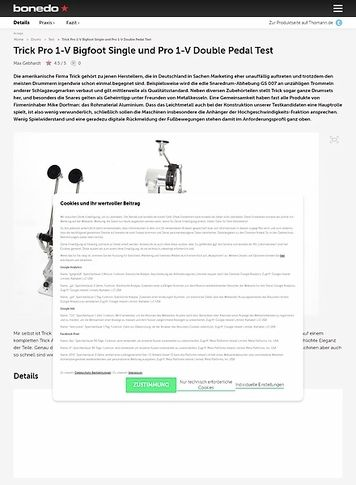 Bonedo.de Trick Pro 1-V Bigfoot Single und Pro 1-V Double Pedal