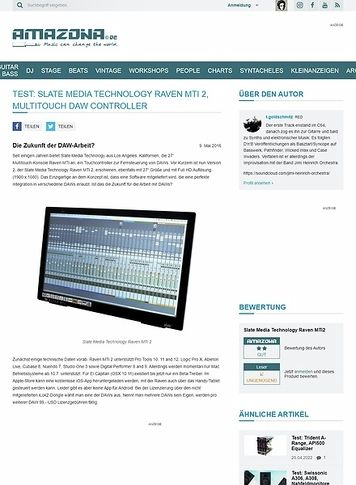 Amazona.de Test: Slate Media Technology Raven MTi 2, Multitouch DAW Controller