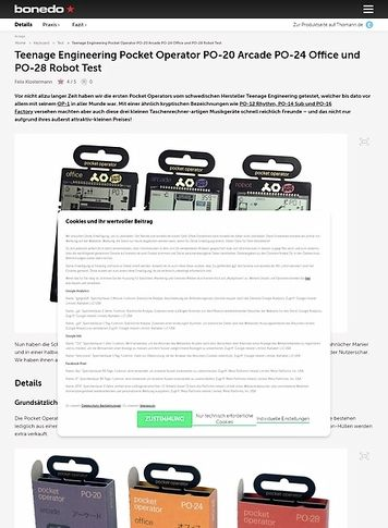 Bonedo.de Teenage Engineering Pocket Operator PO-20 Arcade PO-24 Office und PO-28 Robot