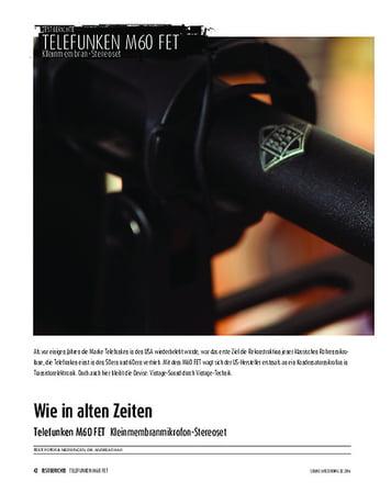 Sound & Recording Telefunken M60 FET - Kleinmembranmikrofon-Stereoset