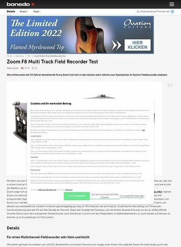 Bonedo.de Zoom F8 Multi Track Field Recorder