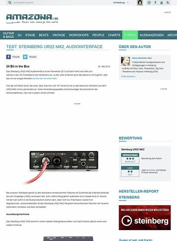 Amazona.de Test: Steinberg UR22 MK2, Audiointerface
