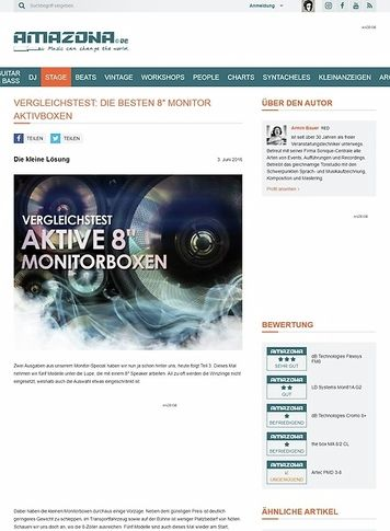 "Amazona.de Vergleichstest: aktive 8"" Monitorboxen, the box MA 8/2 CL, Artec PMD 3-8, LD Systems Mon81A G2, dB Technologies Cromo 8+, dB Technologies Flexsys FM8"