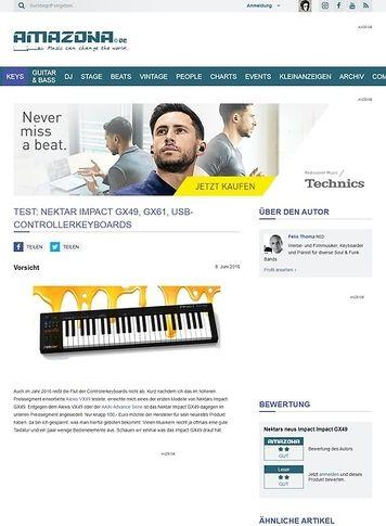 Amazona.de Test: Nektar Impact GX49, GX61, USB-Controllerkeyboards