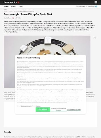 Bonedo.de Snareweight Snare Dämpfer Serie Test