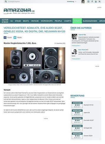 Amazona.de Vergleichstest: Adam A7X, Eve Audio SC207, Genelec 8320A, KS Digital D60, Neumann KH120