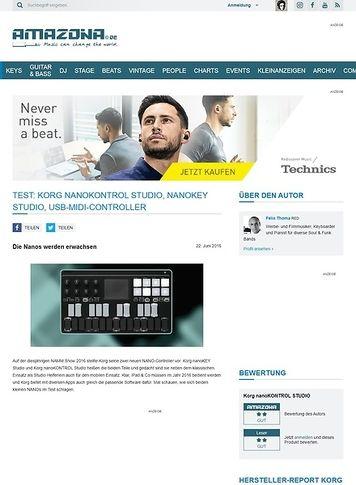 Amazona.de Test: Korg nanoKONTROL Studio, nanoKEY Studio, USB-MIDI-Controller