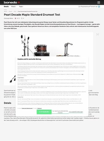 Bonedo.de Pearl Decade Maple Standard