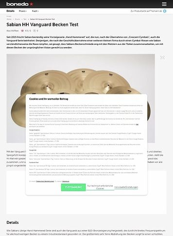 Bonedo.de Sabian HH Vanguard Becken Test
