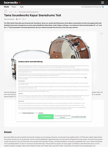 Bonedo.de Tama Soundworks Kapur Snaredrums Test