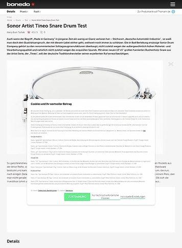 Bonedo.de Sonor Artist Tineo Snare Drum