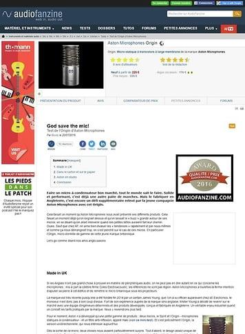 Audiofanzine.com Aston Microphones Origin
