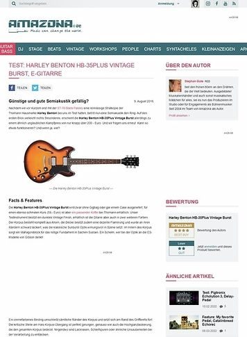 Amazona.de Test: Harley Benton HB-35Plus Vintage Burst, E-Gitarre