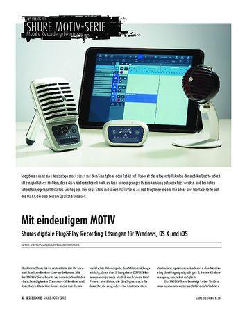 Sound & Recording MOTIV - Shures digitale Plug&Play-Recording-Lösungen für Windows, OS X und iOS