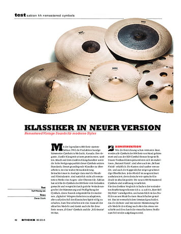 Sticks Sabian HH Remastered Cymbals