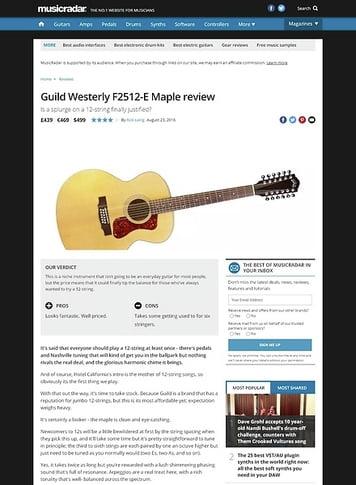 MusicRadar.com Guild Westerly F2512-E Maple