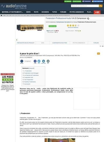 Audiofanzine.com Fredenstein Professional Audio V.A.S Compressor