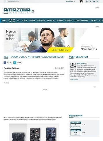 Amazona.de Test: Zoom U-24, U-44, Handy Audiointerfaces