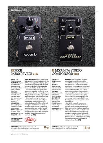 Guitarist MXR M300 Reverb and M76 Studio Compressor