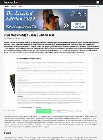 Bonedo.de Studiologic Sledge 2 Black Edition