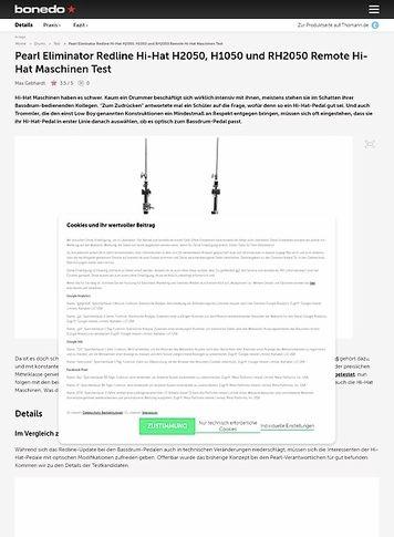 Bonedo.de Pearl Eliminator Redline Hi-Hat H2050, H1050 und RH2050 Remote Hi-Hat Maschinen