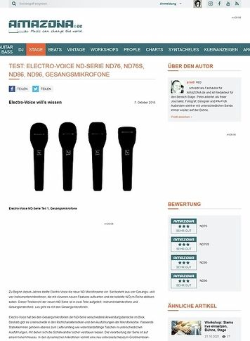Amazona.de Test: Electro-Voice ND-Serie ND76, ND76S, ND86, ND96, Gesangsmikrofone