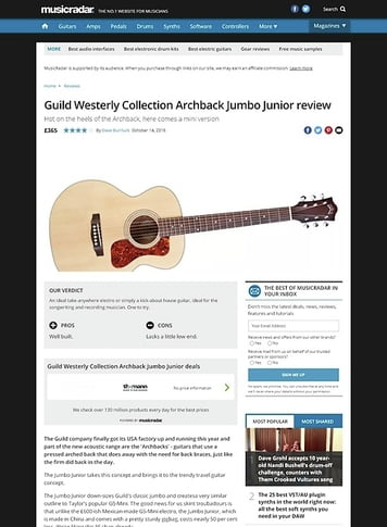 MusicRadar.com Guild Westerly Collection Archback Jumbo Junior