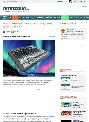 Amazona.de Test: Soundcraft Signature 22 MTK, Soundcraft Signature 12 MTK, Mischpult