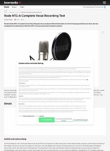 Bonedo.de Rode NT1-A Complete Vocal Recording