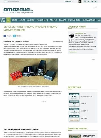 Amazona.de Vergleichstest Phono-Preamps / Phono-Vorverstärker