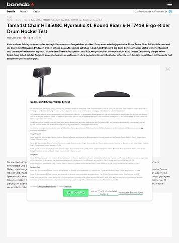 Bonedo.de Tama 1st Chair HT850BC Hydraulix XL Round Rider & HT741B Ergo-Rider Drum Hocker