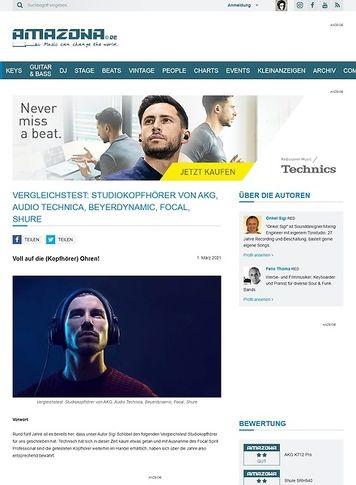 Amazona.de Vergleichstest Studiokopfhörer: AKG 712 Pro, Audio Technica ATH-M70X, Beyerdynamic DT880 Pro, Focal Spirit Professional, Shure SRH940