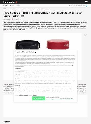 """Bonedo.de Tama 1st Chair HT830R XL """"Round Rider"""" und HT530BC """"Wide Rider"""" Drum Hocker"""