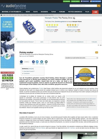 Audiofanzine.com Wampler Pedals The Paisley Drive