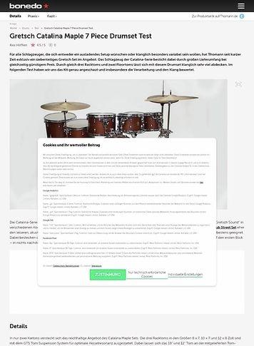 Bonedo.de Gretsch Catalina Maple 7 Piece Drumset