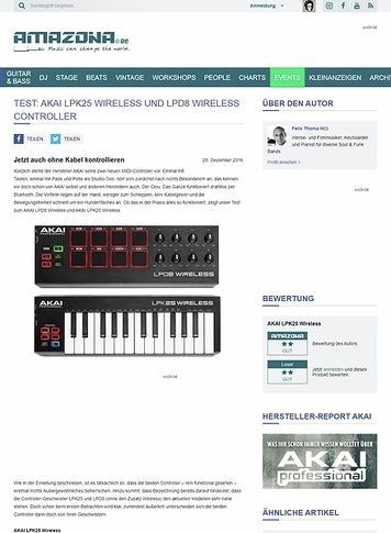 Amazona.de AKAI LPK25 Wireless und LPD8 Wireless Controller