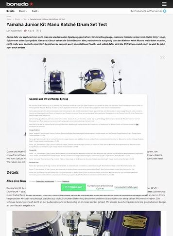 Bonedo.de Yamaha Junior Kit Manu Katché Drum Set