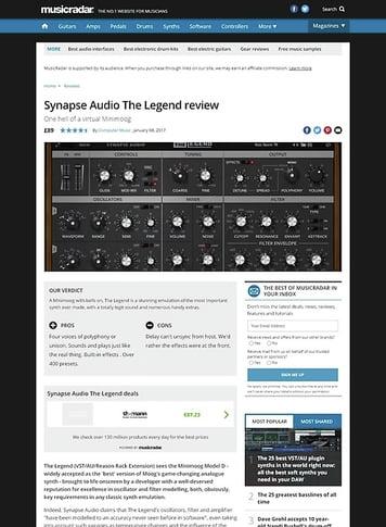 MusicRadar.com Synapse Audio The Legend